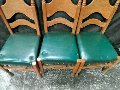 Three  Arts And Crafts  Oak Dining Chairs c.1900 2