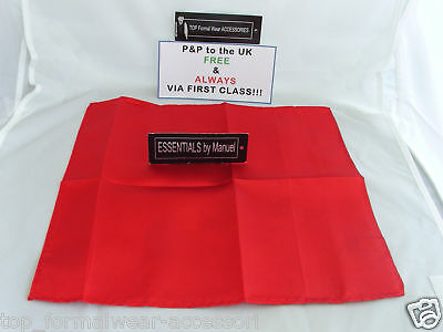 Red MENS Ruche-Wedding Polyester Cravat and Hankie-More Sets U Buy>More £ U Save 3