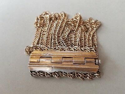 ANTIQUE ORNATE SILVER Ottoman GILDED SILVIER Bracelet with Hand knitted chains 9