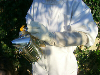 Beekeeping gloves - White leather MEDIUM