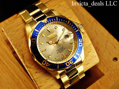 Invicta Mens 40mm Pro Diver Champagne Dial 18K Gold Plated Stainless Steel Watch 3