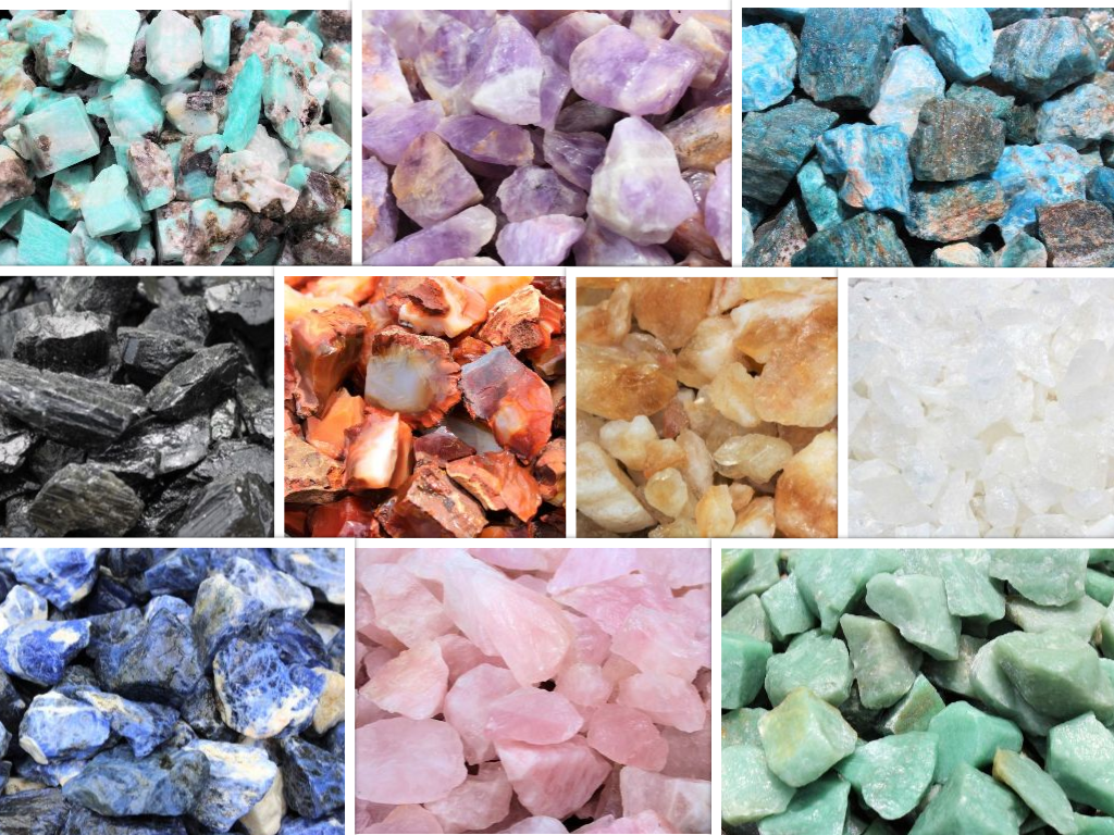 Beginners Crystal Kit, 10 pcs In Velvet Pouch - Most Popular Rough Crystals 10