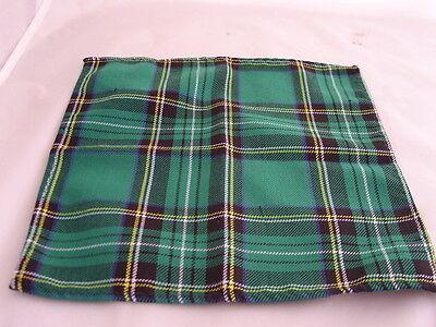 DD>Tartan-Green/Black Polyester Bow Tie + Cummerbund & Hanky Set>P&P2UK>1st Clas 3