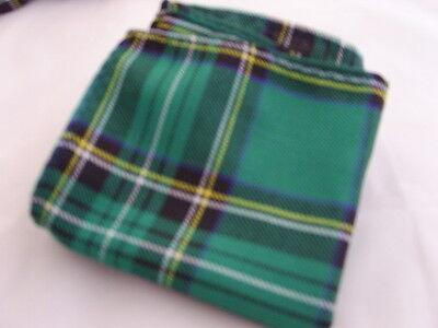 DD>Tartan-Green/Black Polyester Bow Tie + Cummerbund & Hanky Set>P&P2UK>1st Clas 5