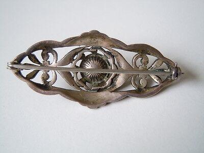 Antike Biedermeier Brosche aus 935 Silber Markasiten & Perle 8,6 g/4,7 x 2,1 cm