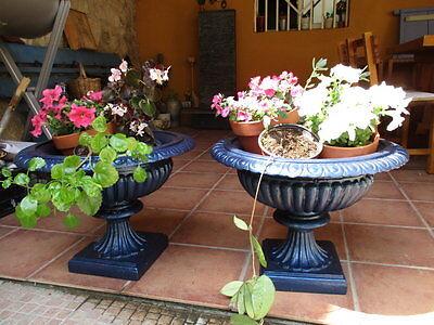 Jardineras De Hierro Fundido Antiguas Restauradas En Color Azul / Antique Fused 12