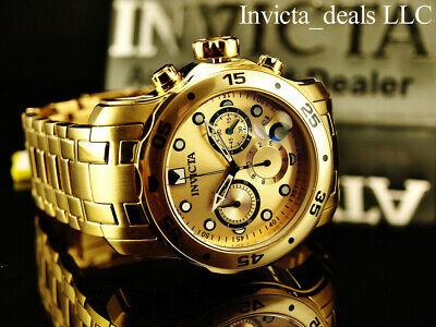 Invicta Men's 48mm PRO DIVER Scuba Chronograph Gold Dial 18K Gold Plated Watch 4
