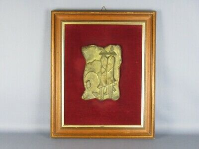 Le Ombre 1990 Escultura Fundición Bronce Firmada con Marco de la Velour Madera 4