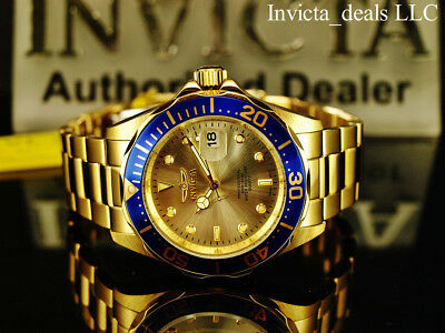 Invicta Mens 40mm Pro Diver Champagne Dial 18K Gold Plated Stainless Steel Watch 2