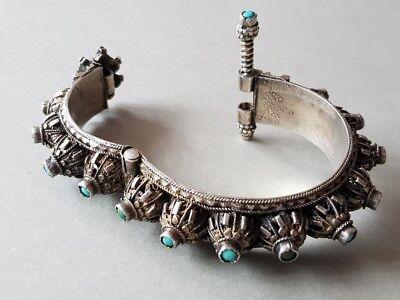 GORGEOUS ANTIQUE Ottoman SILVER filigree Bracelet with semi precious stones XIXc 9