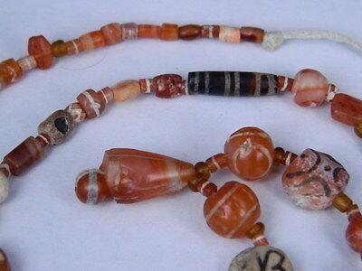 Ancient Etch Carnelian Beads Strand Roman 200 BC #BD15043 2
