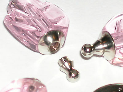 1 Pink Leaf Miniature vial oil pendant glass little miniature bottle SCREW CAP