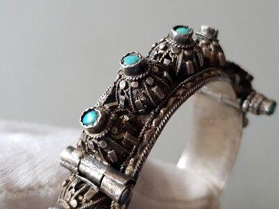GORGEOUS ANTIQUE Ottoman SILVER filigree Bracelet with semi precious stones XIXc 6
