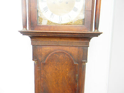antique grandfather clock oak and mahogany case brass faced arched dial 8 day 7