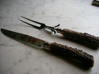 Tranchierbesteck  Besteck  Messer  Tranchiermesser   Gabel   Hirschhorngriffe 7