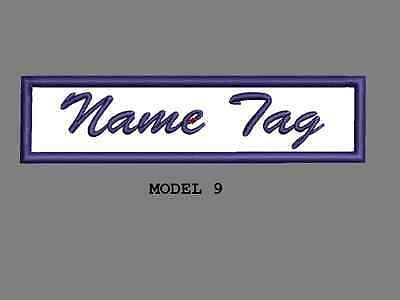 """Custom Embroidered 4"""" x 1"""" Name Tag Patch Motorcycle Biker Iron on/sew on Script 9"""