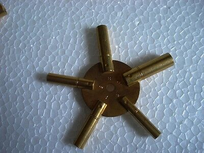 2pc Universal 5 Prong Brass Clock Key for Winding Clock, ODD & EVEN with COVER