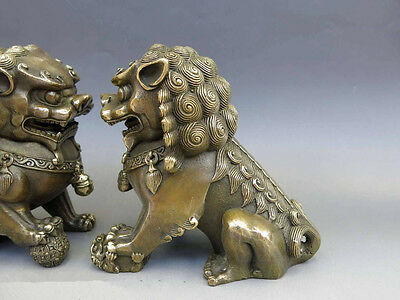 Antiques Oriental Brass Animal Feng shui Foo Dog Lion town house Statue pair 3