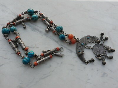 old Antique Vintage pure silver necklace ethnic coral , Egypt faience 2