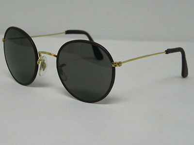 0d2f320dba ... Vintage B L Ray Ban Round Metal Leathers Burgundy Brown 49mm Sunglasses  USA 2