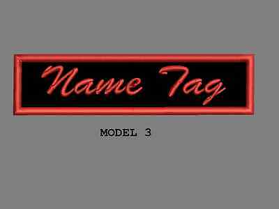 """Custom Embroidered 4"""" x 1"""" Name Tag Patch Motorcycle Biker Iron on/sew on Script 3"""