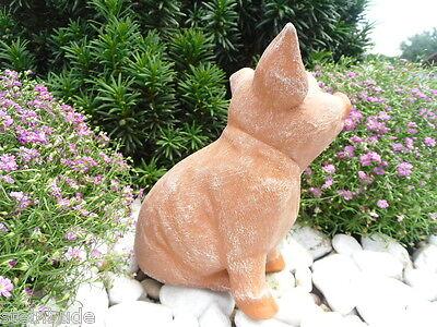 Gartenfigur Steinguss Tierfigur Terrakotta Patina Steinfigur Schwein 127//3 Ferkel