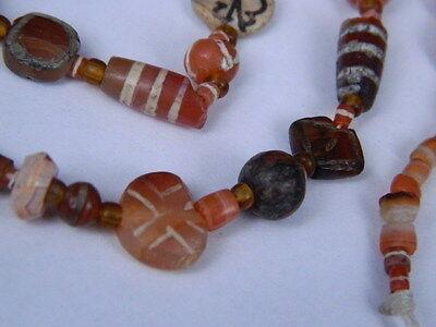 Ancient Etch Carnelian Beads Strand Roman 200 BC #BD15043 7