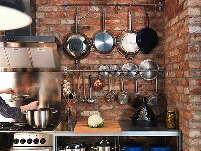 Wall Mount Rail 10 S Hooks Set Utensil Pot Pan Lid Holder Rack Kitchen Organizer 11