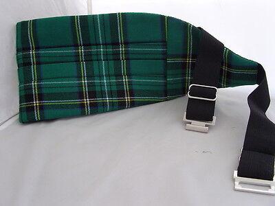 DD>Tartan-Green/Black Polyester Bow Tie + Cummerbund & Hanky Set>P&P2UK>1st Clas 10