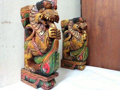 Wall Wooden Bracket Corbel Pair Temple Yalli Dragon Statue Sculpture Home Decor 5