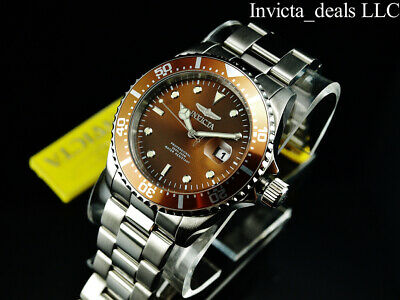 Invicta Men's 43mm Pro Diver SUBMARINER Brown Dial Silver Tone 200m SS Watch 6