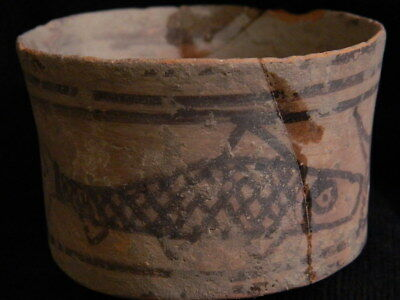 Ancient Large Size Teracotta Painted Pot With Fishes Indus Valley 2500 BC #CCH3 5