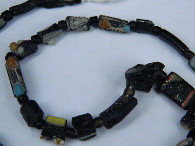 Ancient Mosaic Glass Fragment Beads Strand Roman 200 BC #BE5106 4