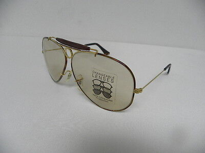 845460a289f ... New Vintage B L Ray Ban Shooter Tortuga L1702 Gold Changeable Brown  Aviator USA