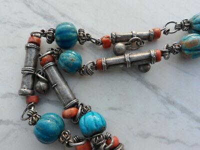 old Antique Vintage solid silver necklace ethnic coral, Egypt faience 1920s 11