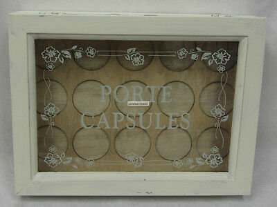 Rustic French Provincial Distressed Antique Cream Wooden Box For Coffee Pod Pods 3