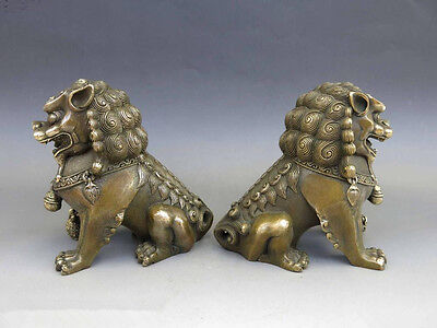 Antiques Oriental Brass Animal Feng shui Foo Dog Lion town house Statue pair 5