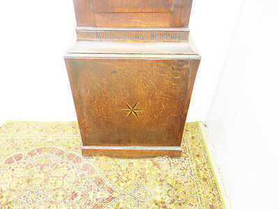 antique grandfather clock oak and mahogany case brass faced arched dial 8 day 6