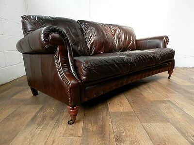 PAIR of VICTORIAN STYLE CIGAR BROWN STUD LEATHER CHESTERFIELD 3 SEATER SOFAS 2