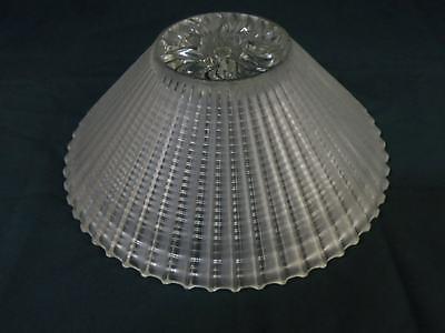 Vtg Cut Glass Shade Sunburst Star-Burst Art Deco Chandelier Light Fixture Frost 4