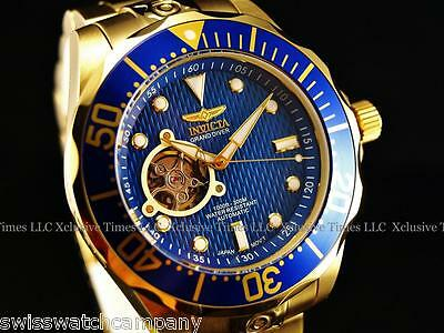 NEW! Invicta Men's GRAND DIVER 18K Gold IP NH38A Automatic 24J Bracelet Watch