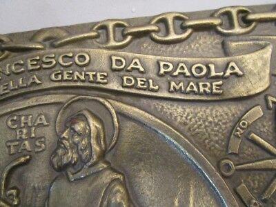 Vintage SAN FRANCESCO DA PAOLA  Plate / Plaque - BRASS - 100% ORIGINAL (2187) 4