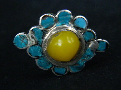 Ancient Silver Ring With Stones Post Medieval 1800 AD  #STC213 3
