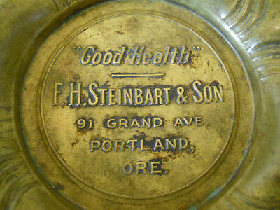 Antique Art Nouveau Advertising Bronze Tray Old Portland Store Ashtray Grand Ave
