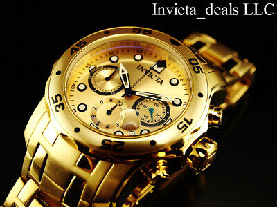 Invicta Men's 48mm PRO DIVER Scuba Chronograph Gold Dial 18K Gold Plated Watch 2