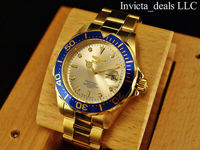 Invicta Mens 40mm Pro Diver Champagne Dial 18K Gold Plated Stainless Steel Watch 4