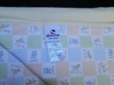 Absorba Yellow Checkered AMIS Dog Cat Bird Baby Blanket Excellent Condition 2