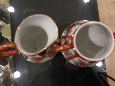 Beautiful Antique Japanese Kutani Creamer and Sugar Bowl Signed