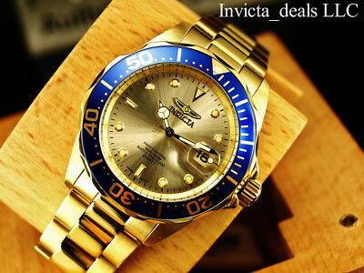 Invicta Mens 40mm Pro Diver Champagne Dial 18K Gold Plated Stainless Steel Watch 5