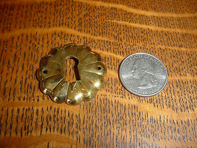 Chinese Design Lotus Motif Polished Cast Brass Keyhole/Escutcheon, Lot of 2